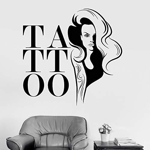 guijiumai Vinyl Wandtattoo Tattoo Salon Frau Mädchen Aufkleber Wandbild Studio Wand Fenster Poster Removable Decor grau 58x57 cm (Tattoo Harry Potter-blitz)