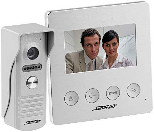 Somikon Video Klingel: Video-Türsprechanlage mit Farbdisplay, LED-Licht & Türöffnungsfunktion (Türklingel mit Kamera)