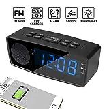 HEDDK Radiowecker, Digitaler FM-Alarm, Radiowecker, USB-Ladeanschluss, LED-Anzeige, Dimmer, Sleep-Timer, Snooze-Batterie-Backup-Schlafzimmer, Tabellen (Rot, Blau),Black+Blue