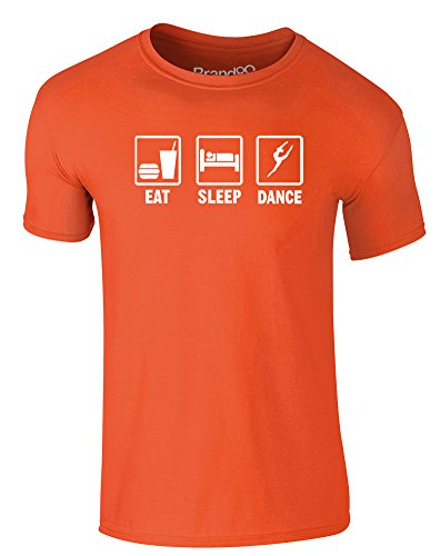 Brand88 - Eat Sleep Dance, Erwachsene Gedrucktes T-Shirt Orange/Weiß