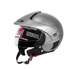 JMD HELMETS Wonder with Peak Open Face Helmet (Large, Glossy Silver)