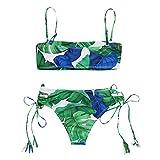 IZHH Bikini Bademode Bikini Set Print Blätter Push-Up Gepolsterter Badeanzug Beachwear Bedruckter Badeanzug mit doppeltem Schultergurt(Grün,Small)
