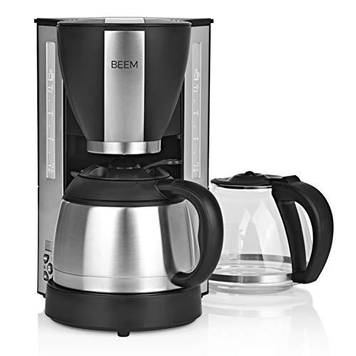 BEEM FRESH-AROMA-SELECT Filterkaffeemaschine - Duo 1000 W | Glaskanne und Isolierkanne | Warmhaltefunktion | 8 Tassen (1L) | Permanentfilter und 24h Timer