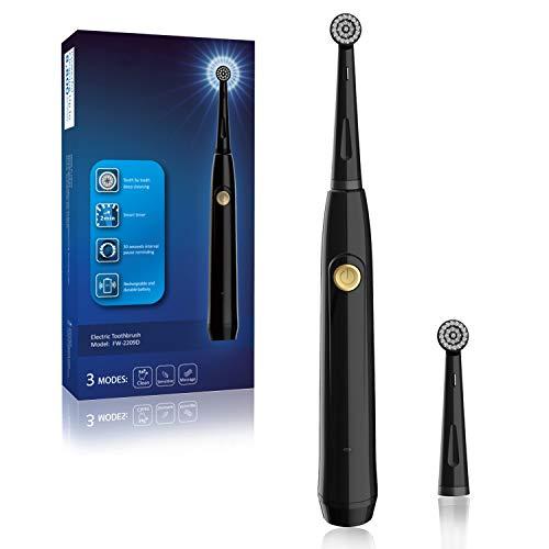 Elektrische Zahnbürste für Erwachsene, wiederaufladbare rotierende Zahnbürste Zahnaufhellung in 14 Tagen, wasserdicht, mit 1 Ersatz runden Bürstenkopf, Modell 2209 schwarz