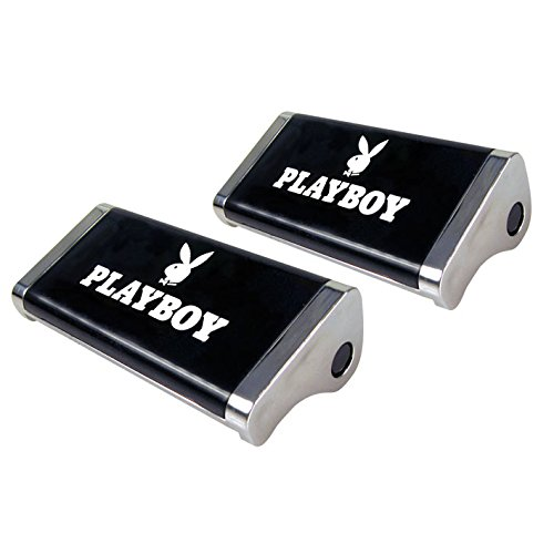 Playboy PB-8100802Gürtelschnallen fürs Auto, Schwarz, weißes Logo, Größe 6,5x 2x 3,5cm