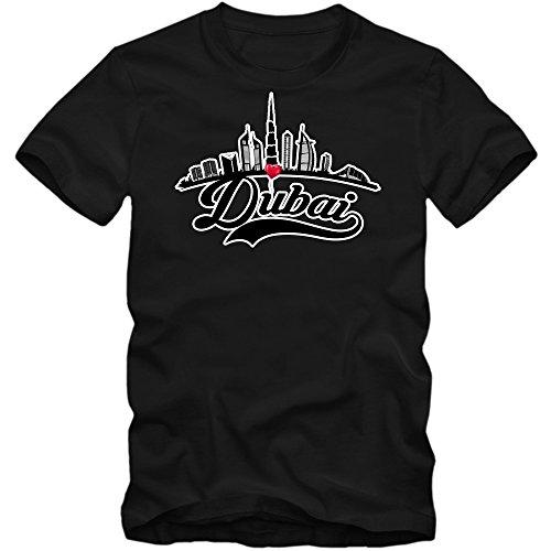 Skyline Camiseta | Hombre | Dubái | Emiratos Árabes Unidos | Capital | Silueta de La Ciudad | Trotamundos | Viaje a Ciudades | T-Shirt, Colour:Black (Deep Black);Size:Small