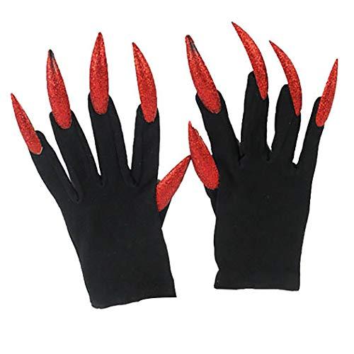 Joyibay 1 Paar Halloween Handschuhe Scary Long Fingernails Kostüm Handschuhe Halloween Prop