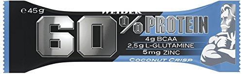 Weider 60{2e63d40dc76a3aff6a670ee00dc4ed11351d52e8ca13efe613dae4269cf7a9c9} Protein Bar, Coconut-Crisp, 1er Pack (24 x 45 g Riegel)