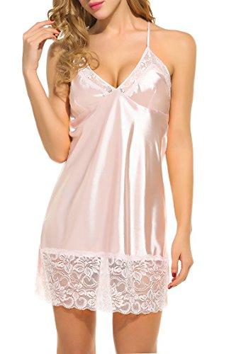 Damen Spaghettiträger Satin Chemises Kleid Spitzen Negligee Seide Nachthemd Nachtwäsche (Rosa Nachthemd Seide)