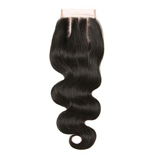 ohlees® 6 A brésilien en dentelle fermeture frontal blanchi Noeuds de cheveux humains Vierge Fermeture 4 x 4 corps Wave 3 partie Fermeture