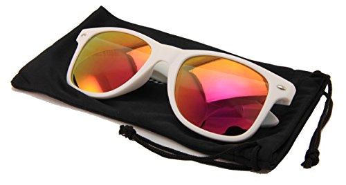 Vision World Eyewear Weiß Horn Bunte Spiegel-Sonnenbrille Für Damen (Lila)