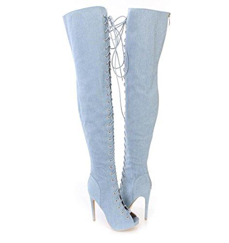 Frauen Stiefel Denim Herbst Winter Cowboy/Plattform Runde Kappe Kniehohe Stiefel Krawatte Für Freizeitkleidung, Blue, 36 - Cowboy-plattform