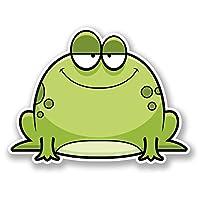 2 x 10cm Happy Green Frog Vinyl Sticker Laptop Helmet Bike Car Motorbike #5713