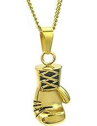KONOV Joyería Collar Cadena de hombre mujer, Guantes de boxeo Colgante, 55-60cm Ajustable, Acero inoxidable, Color oro (con bolsa de regalo)