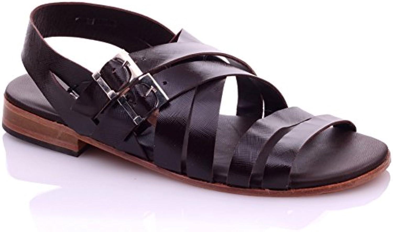 Unze Cuero sandalias planas del verano Hombres Spraye '
