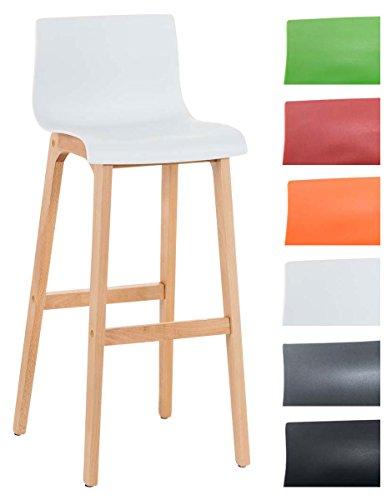 CLP Taburete de Bar Hoover con Asiento de Plástico Resistente I Silla de Bar con Respaldo & Reposapiés I Color: Blanco