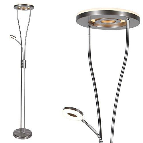 Moderner LED Deckenfluter mit Lesearm | Fluter mit drehbarem Innenring | Stehleuchte 187,50cm Höhe inklusive LED-Leuchtmittel | Stehlampe Leselampe mit Schalter und Drehdimmer