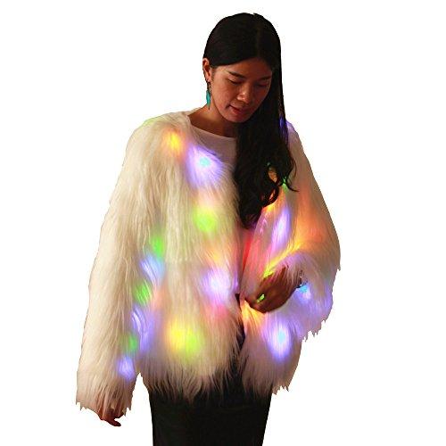 Haafee LED-Kleidung verdickt Pelz-warme Mäntel mit Kapuzen-Party-Kostüme Frauen-Jacke Mehrfarbige helle Faux-Pelz-Weihnachtsmantel,weiß Gr. (Kostüme Uk 2017 Halloween Herren)