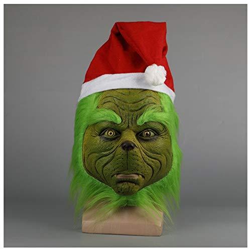 YN Luxus Neuheit Weihnachten Grün Monster Grinch Hood Halloween Weihnachten Hut COS Show Requisiten (Color : Green with Christmas hat)