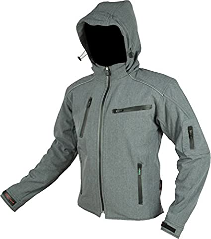 RIDER-TEC Blouson Moto Softshell avec Protectwearions CE, Gris,