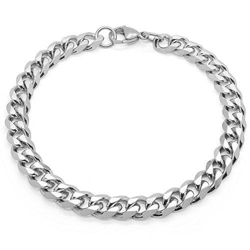 SoulCats® Armband/Armkette aus Edelstahl für Männer in Silber, Größe: 8 mm
