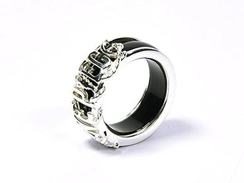 CoolChange One Piece Ring aus echtem 925 Sterlingsilber und Achat in Schwarz oder Rot (Schwarz)