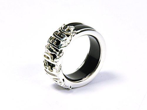 CoolChange One Piece Ring aus echtem 925 Sterlingsilber und Achat in Schwarz oder Rot ()