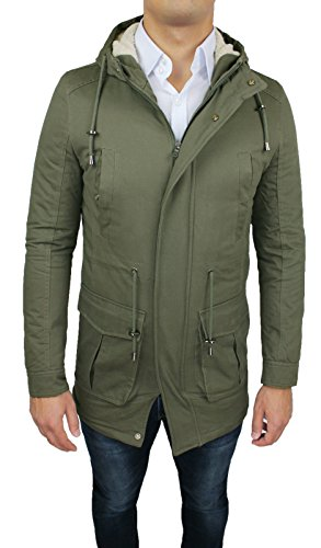 Giubbotto Parka uomo verde militare eskimo giaccone casual invernale con pelliccia taglia S M L XL XXL verde militare