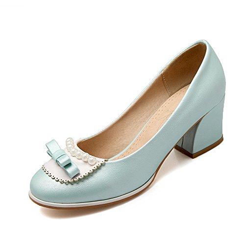 AllhqFashion Femme Pu Cuir Couleur Unie Tire Rond à Talon Correct Chaussures Légeres Bleu