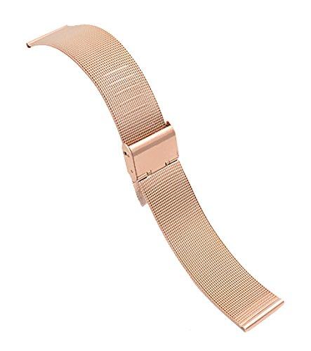 20mm langlebiges Edelstahlgewebe Uhrenarmband Ersatz stieg Goldkette Uhrgurt mit gebürstetem Spange (Swatch Invicta)