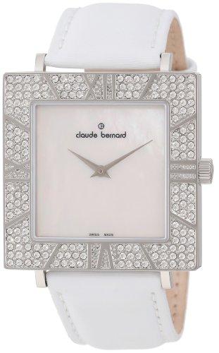 Claude Bernard Women's 20077 3PB NA Ladies Fashion Square Crystal Mother-of-Pearl Satin Watch