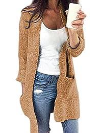 Abrigos De Mujer Invierno,Abrigos De Mujer Invierno Acolchado,Chaquetas De Mujer De Vestir Elegante,Mujer Invierno Abierto Frente Sólido Bolsillo Cárdigan Largo Manga Suéter Capa