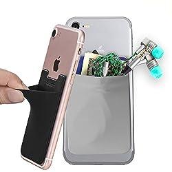 2er Handy Kartenhalter,Klebende Smartphone Kartenfach Kartenhalterung Smart Wallet Kartenhülle Kartenetui (Schwarz-Grau)
