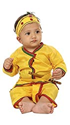 Krystle Yellow krishna style kurta & dhoti dress for kids (Pack of 5-kurta,dhoti,bansuri,mukut,patka) (8-9years)