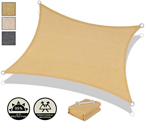 AXT SHADE Toldo Vela de Sombra Rectangular 4 x 4 m, protección Rayos UV y HDPE Transpirable para Patio, Exteriores, Jardín, Color Arena