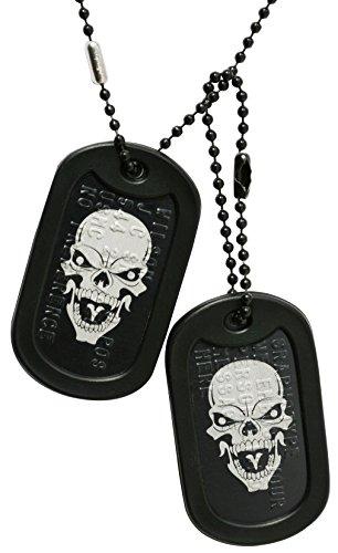 Graphotype™ Totenkopf Dogtags: 2 personalisierten Erkennungsmarken im Armeestil mit Kugelkette & Schalldämpfern -