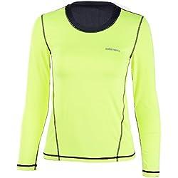 EUFANCE las Mujeres de Manga Larga Camiseta Deportiva Ejecución de Gimnasio de Yoga de la Aptitud de Secado Rápido Camiseta de Deportes Verde M