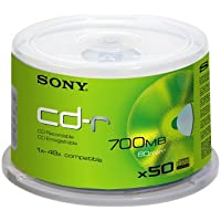Sony CD-R, 48x, 700 MB nach ISO-9660-MODE-1, 50er Spindel mit 80 Minuten je CD-R