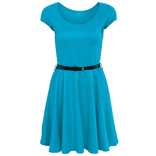 Fashion 4 Less Damen Skater Kleid Turquesa
