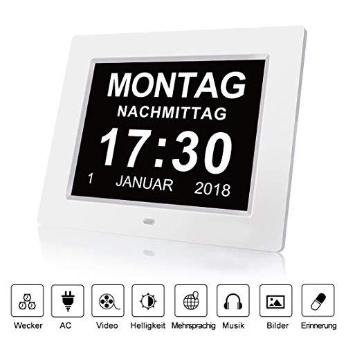 fomobest Wecker Digital Bilderrahmen Groß Tischuhr/Wanduhr 8 Zoll Standuhr mit Zeit/Kalender/Foto/Video Anzeige Helligkeit/Musik/Erinnerung Einstellbar Uhr Weiß -