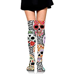 No Soy Como Tu Calcetines Altos Watercolor Skull Calaveras Training Socks Crew Athletic Socks Long Sport Soccer Socks Soft Knee High Sock Compression Socks for Men Women
