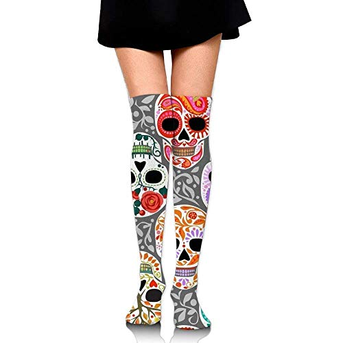10331c9ba No Soy Como Tu Calcetines Altos Watercolor Skull Calaveras Training Socks  Crew Athletic Socks Long Sport