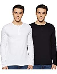 Amazon Brand - Symbol Men's Solid Regular Fit Full Sleeve T-Shirt (Combo Pack of 2)