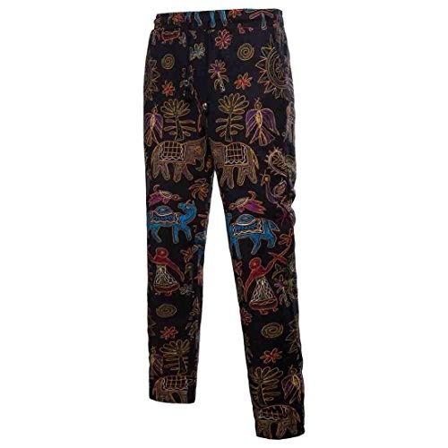 GreatestPAK Pants Herrenhosen, Leinenhosen, Loose Large Size Hosen Herren Hose Harem Sweatpants Slacks Casual Jogger Sportwear - Belted Check