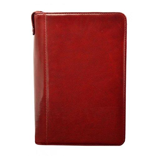 Konferenzmappe A4 Aus Echtem Leder Mit Innerem Fach Für Handy Farbe Rot - Italienische Lederwaren - Aktentasche -