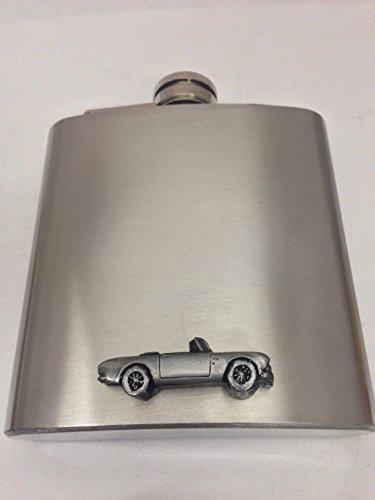 sunbeam-alpine-mk2-ref241-pewter-effect-emblem-on-6oz-stainless-steel-hip-flask-captive-top