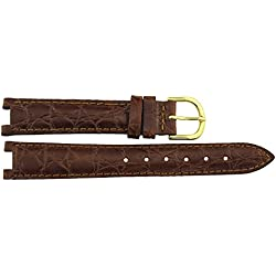 Watch Strap in Brown Leather - 16mm - - buckle in Gold stainless steel - B16BroItr64G