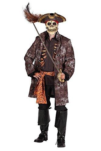 Thetru 2361 Herrenkostüm Piratengeist 3-Teilig Jacke Hemd Gürtel Pirat Geist Gespenst Zombie Leiche Untoter Halloweenkostüm Herren Halloween Herrenkostüm Karneval Fasching Verkleidung Braun - Gespenst Piraten Kostüm Für Herren