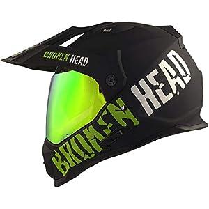 Broken Head made2rebel Cross-Helm grün, Set mit Grün verspiegeltem Visier - Enduro-Helm - MX Motocross Helm mit Sonnenblende - Quad-Helm L (59-60 cm)