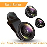 Sbezy Phone Camera Lens Macro Lens & Wide Angle Lens & Fisheye Lens Clip-On Cell Phone Camera Lens for Smartphone